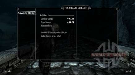 Customizable Difficulty pour Skyrim