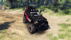 Jeep Cherokee XJ v1.1 Rough Country red dirty pour Spin Tires