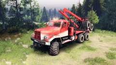 KrAZ-255 in der Farbe rot für Spin Tires