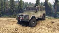 Land Rover Defender 110 dirty flat green für Spin Tires