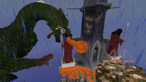 A dragon attack an old tower pour Minecraft