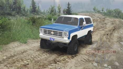 Chevrolet K5 Blazer 1975 [blue and white] pour Spin Tires