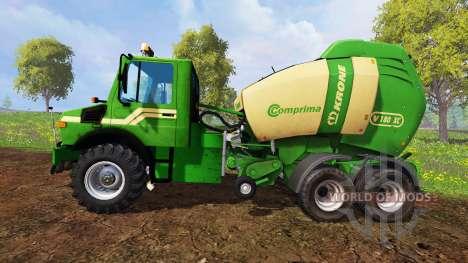 Mercedes-Benz Unimog [Krone round baler] pour Farming Simulator 2015