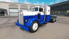 Haut, Blau & Weiß, die auf den LKW-Kenworth-521