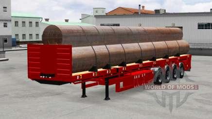 La semi-remorque plate-forme avec des tuyaux pour American Truck Simulator