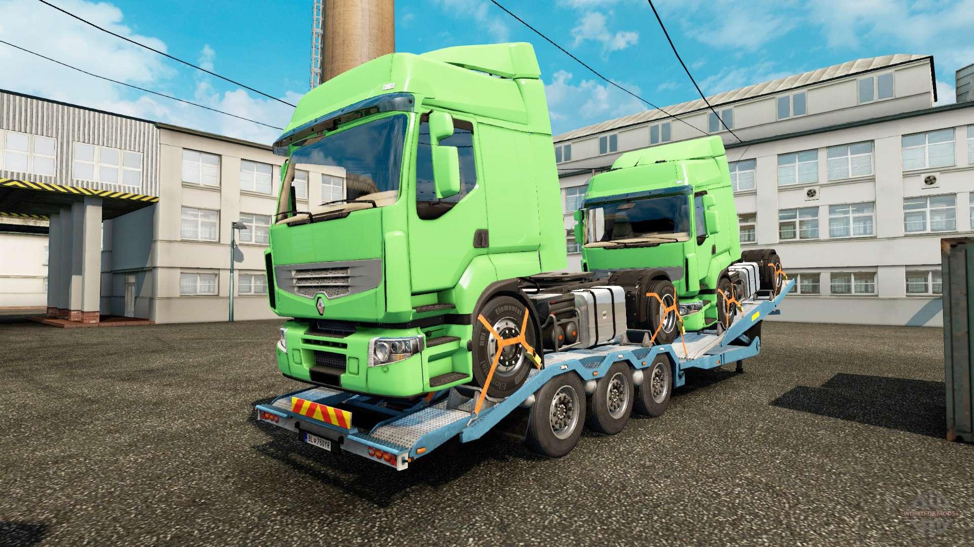 semi remorque camion porte voiture avec des camions de fret pour euro truck simulator 2. Black Bedroom Furniture Sets. Home Design Ideas
