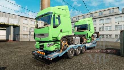 Semi-remorque-camion porte-voiture avec des camions de fret pour Euro Truck Simulator 2