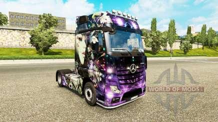 Die Haut der Pfirsiche Mädchen auf einem Traktor Mercedes-Benz für Euro Truck Simulator 2
