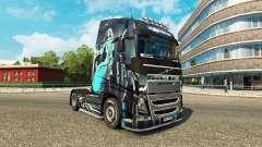 Fille bleue de la peau pour Volvo camion