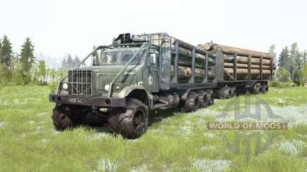 Le KrAZ-255B 8x8 gris foncé-couleur verte pour MudRunner