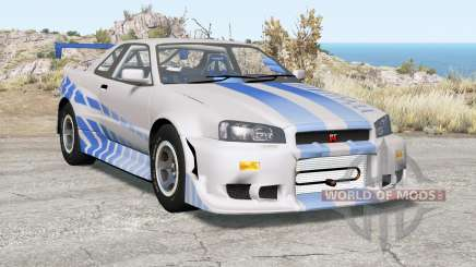 Nissan Skyline GT-R (R34) 2 Fast 2 Furious für BeamNG Drive